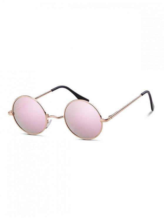 Gafas de sol redondas de metal con luz polarizada - Rosado