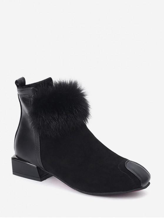 hot Chunky Heel Fuzzy Ball Ankle Boots - BLACK EU 37