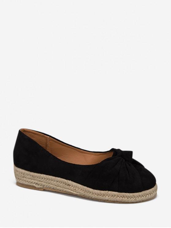 Zapatos planos de alpargata sin cordones Bowknot - Negro EU 40