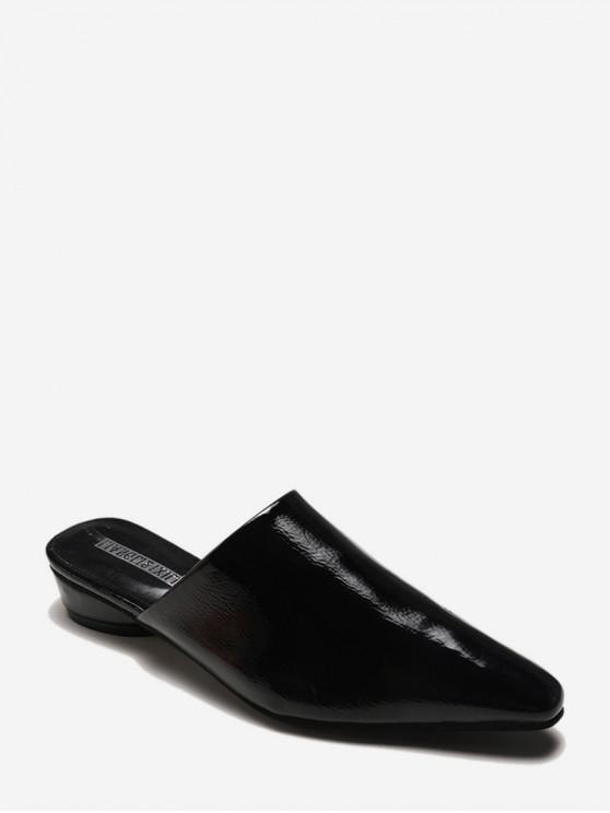 fancy Pointed Toe PU Leather Mules Sandals - BLACK EU 38