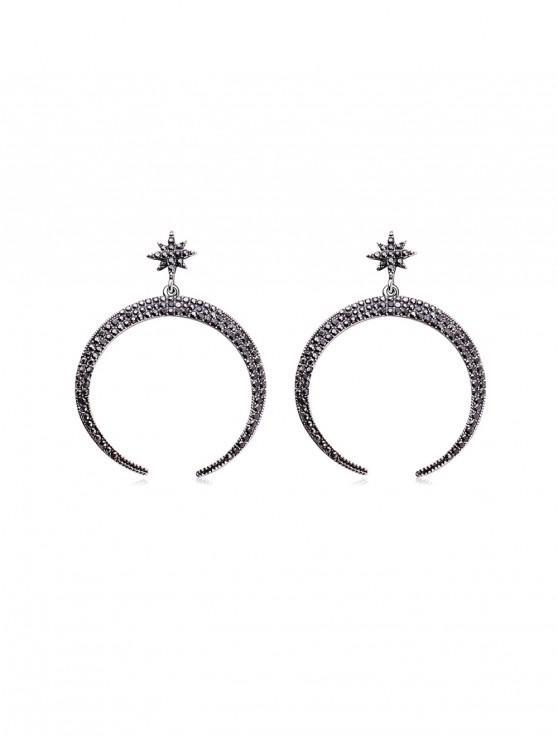 Rhinestone Star Moon Drop Earrings - Gunmetal