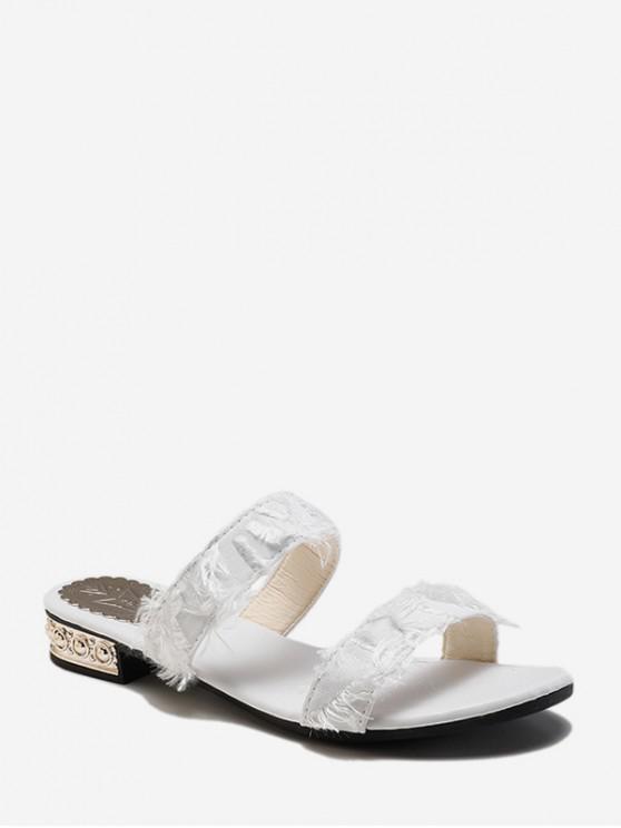 Frayed Strap Low Heel Slides BLACK PINK WHITE
