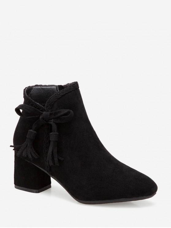 fashion Braided Trim Bowknot Suede Ankle Boots - BLACK EU 35