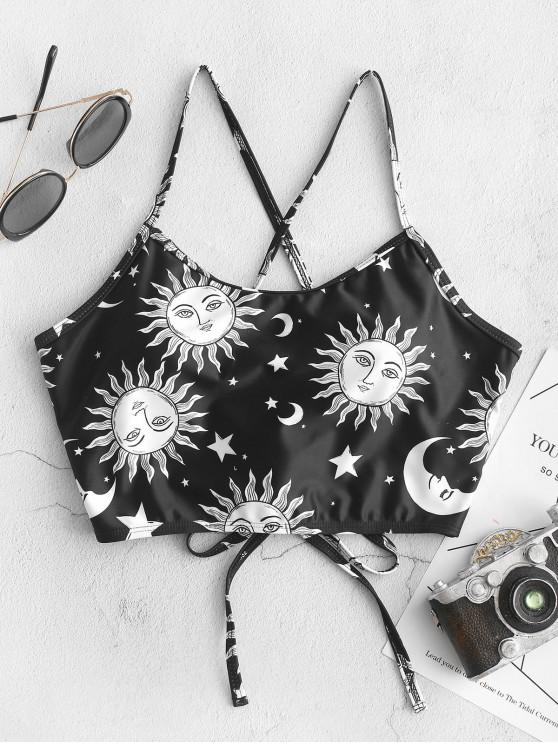 shops ZAFUL Sun and Moon Lace Up Padded Swim Top - MULTI-A L