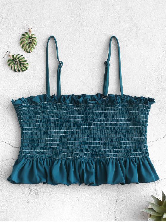 fashion ZAFUL Smocked Ruffle Bralette Bikini Top - PEACOCK BLUE S