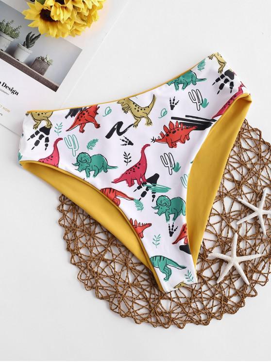 ZAFUL Dinosaur Print Reversible High Waisted Bikini Bottom