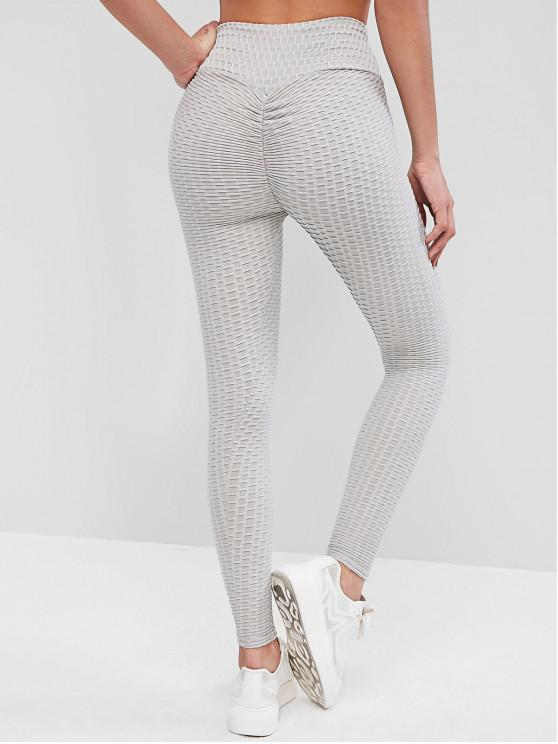 lady Scrunch Butt Textured Sports Leggings - LIGHT GRAY S