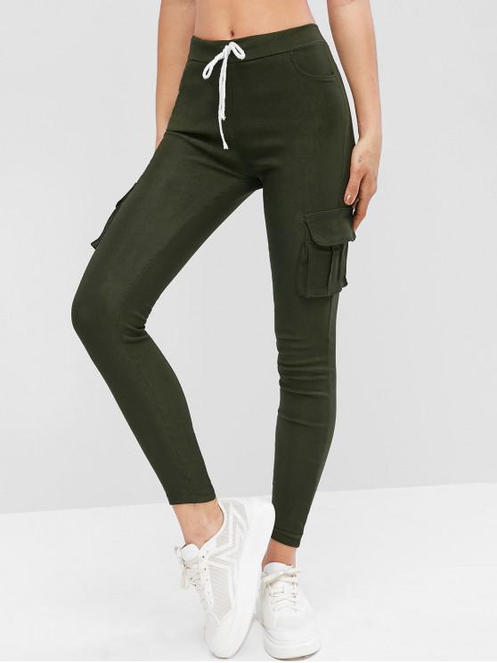 Pantalones ajustados con bolsillos con solapa con cordón - Ejercito Verde M