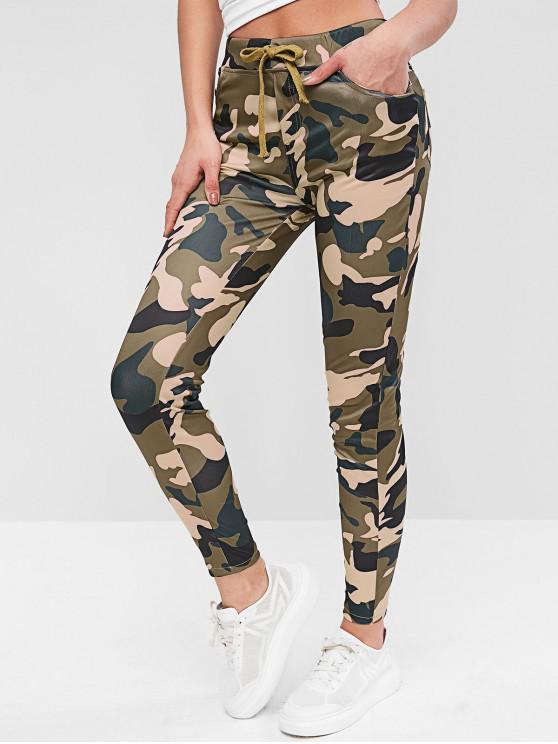 Pantalones ajustados con solapa de camuflaje con cordón - Multicolor M