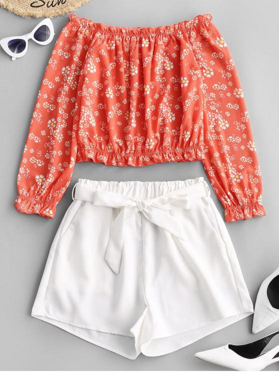 fancy Two Piece Contrast Floral Off Shoulder Paperbag Shorts Set - MULTI S