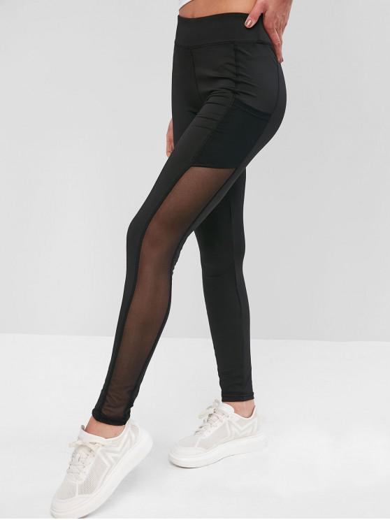 online Pockets Mesh Panel Sports Leggings - BLACK M