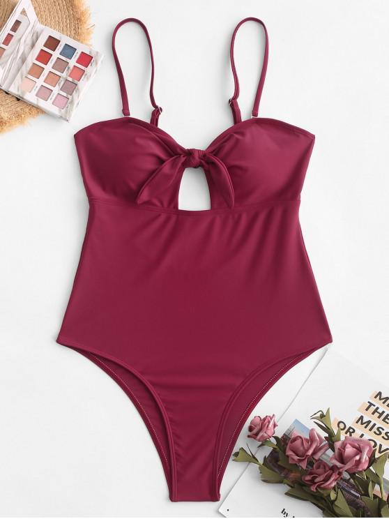 ZAFUL معقود عالية الساق قطع ملابس السباحة قطعة واحدة - نبيذ احمر XL