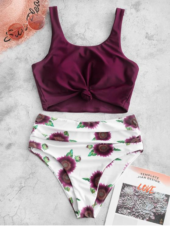trendy ZAFUL Knotted Hem Ruched Sunflower Tankini Swimsuit - MAROON L