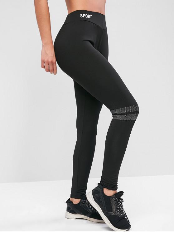 hot Graphic Stripes Panel Sports Leggings - BLACK L