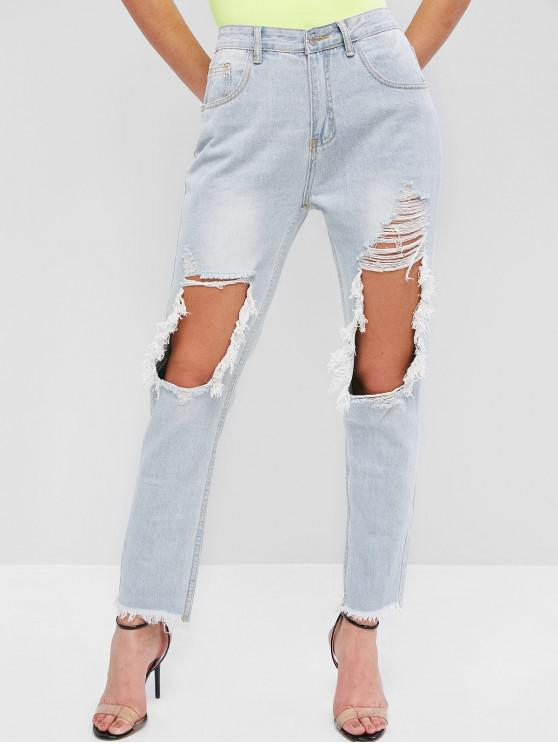 best Light Wash Ripped Frayed Cutout Pencil Jeans - DENIM BLUE L