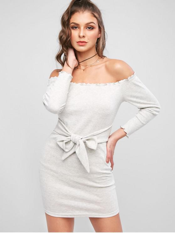 fashion ZAFUL Lettuce Trim Off Shoulder Tie Waist Mini Dress - BATTLESHIP GRAY L