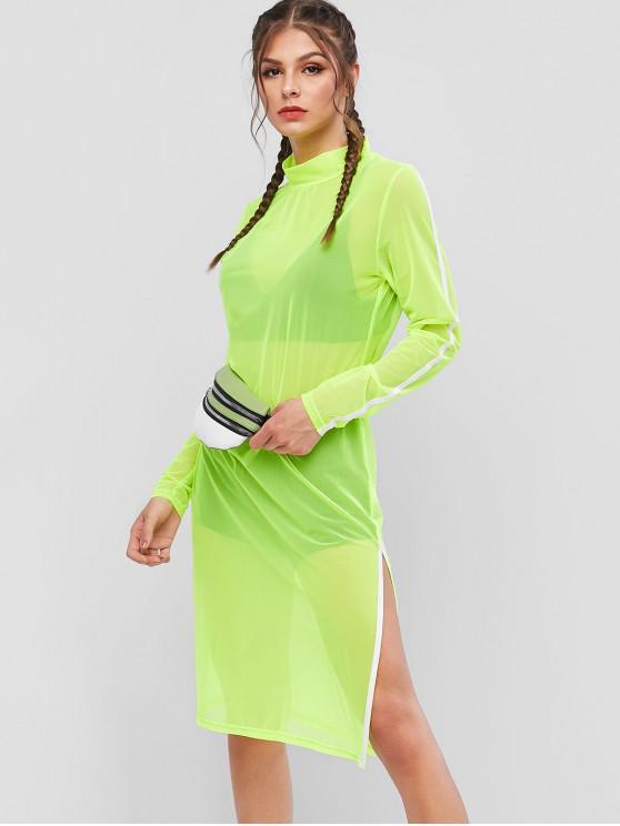 affordable ZAFUL Mock Neck Striped Neon Mesh Dress - EMERALD GREEN XL