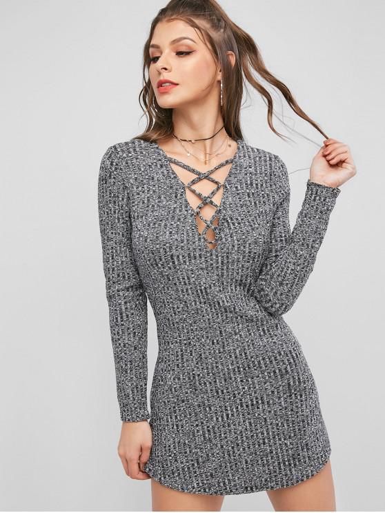 women Lattice Heathered Knit Bodycon Dress - GRAY S