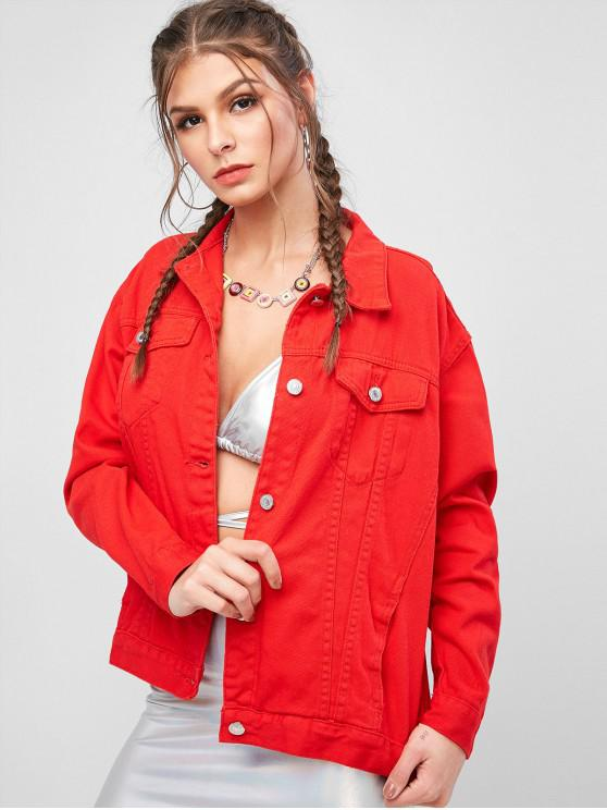 new Pocket Button Up Jeans Shirt Jacket - RUBY RED M
