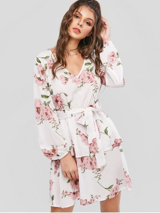 unique ZAFUL Flower Print Layered Long Sleeve Belted Dress - MILK WHITE L