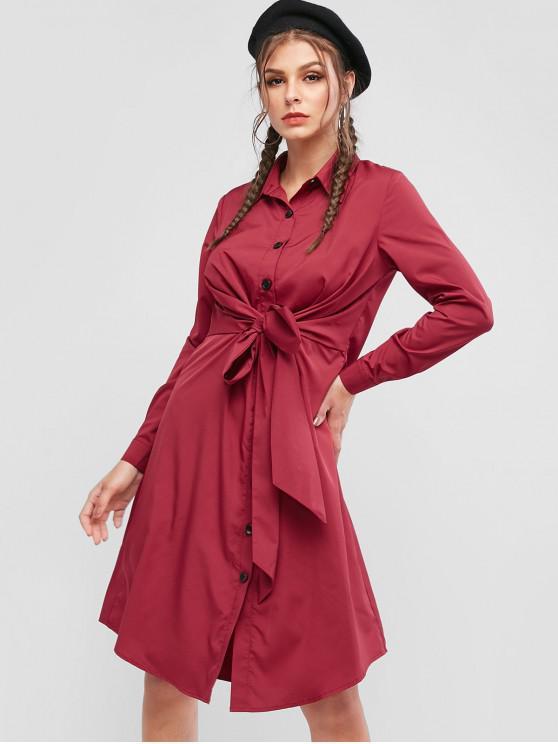 trendy ZAFUL Button Up Tie Waist Long Sleeve Shirt Dress - CHESTNUT RED XL