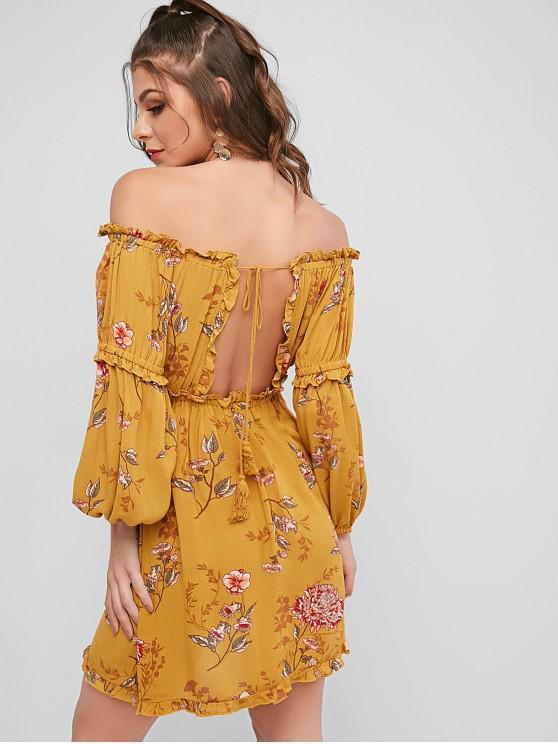 Robe Fleurie Nouée au Dos à Epaule Dénudée à Frange - Jaune M