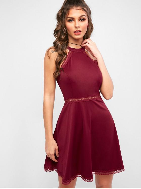fancy ZAFUL Lace Panel Skater Dress - RED WINE S