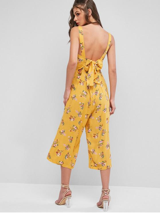 affordable Floral Tied Back Wide Leg Jumpsuit - YELLOW L