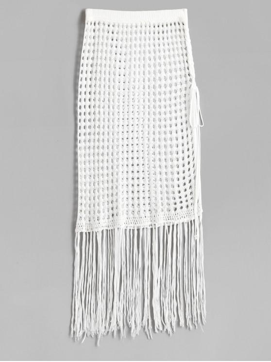 online Fringed Side Slit Crochet Skirt - WHITE ONE SIZE