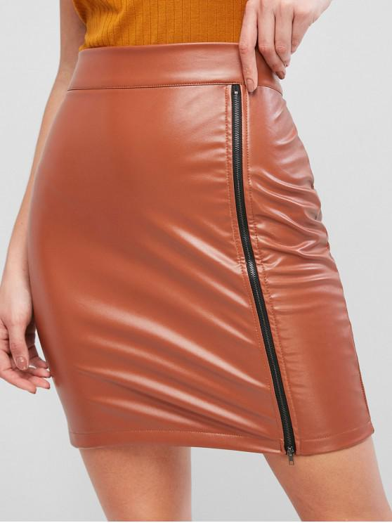womens Zip Up PU Leather Pencil Skirt - ORANGE SALMON S