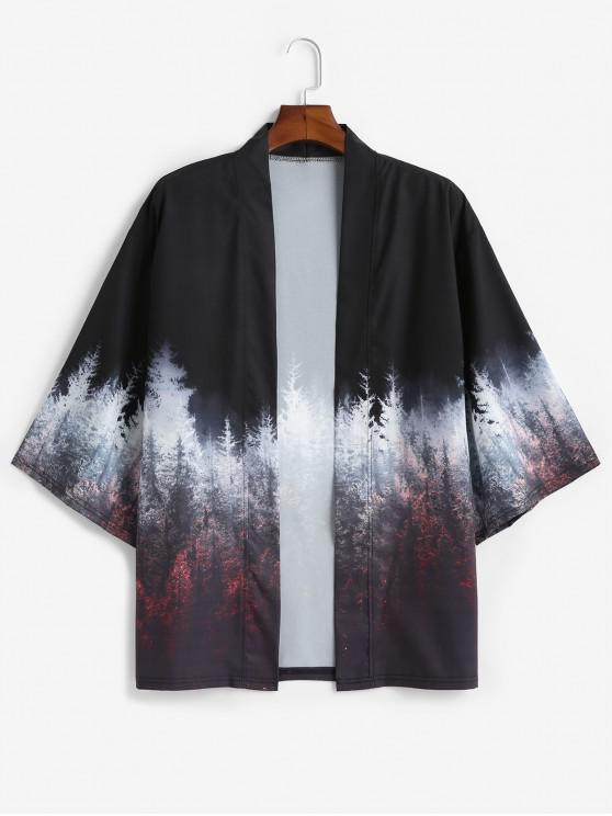 trendy Forest Painting Print Open Front Kimono Cardigan - BLACK S