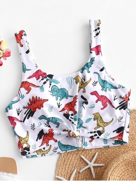 trendy ZAFUL Dinosaur Print Knot Cropped Bikini Top - WHITE M