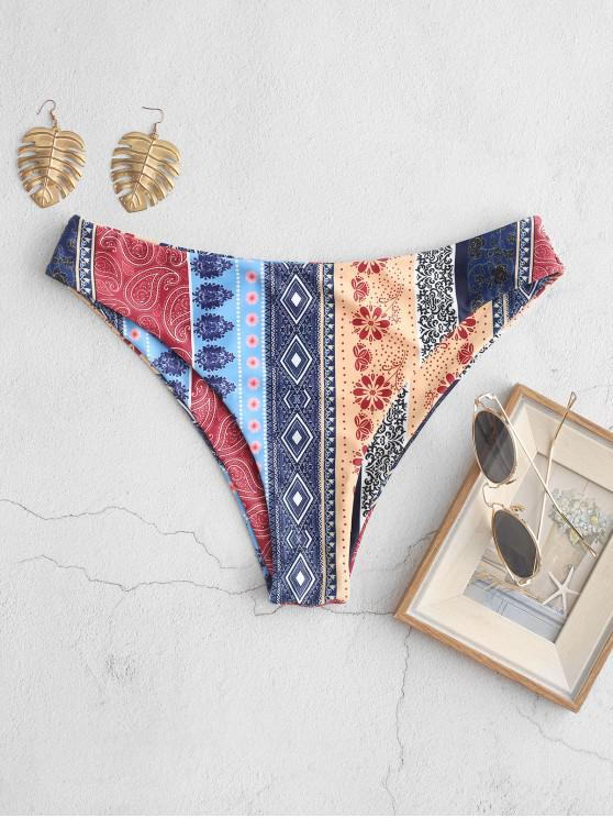 ZAFUL Bikini Bottom de Corte Alto con Estampado Floral Bohemio - Multicolor-A L