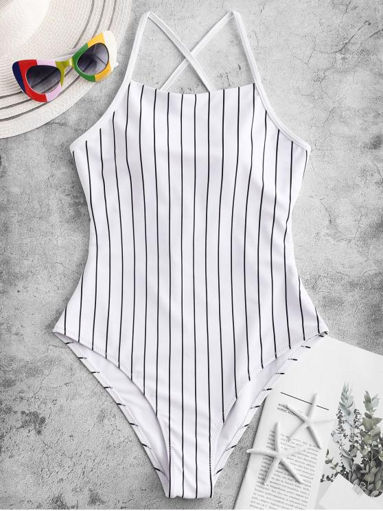 outfits ZAFUL Pinstriped Lace-up One-piece Swimsuit - WHITE XL