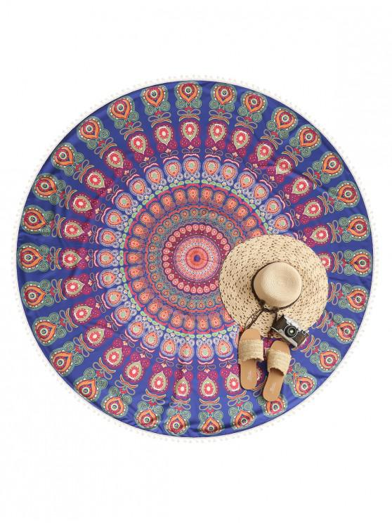 hot Printed Pom-pom Trim Beach Throw - MULTI-A ONE SIZE