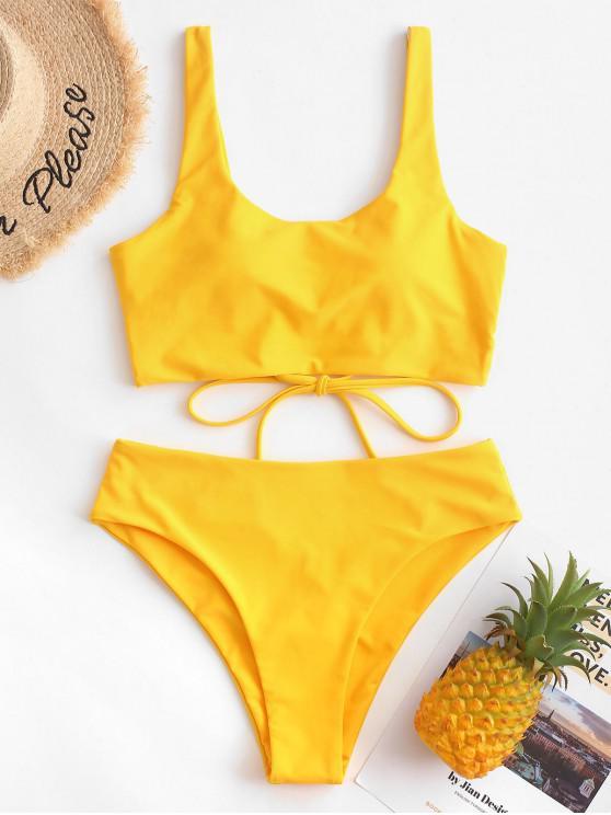 fancy ZAFUL Criss Cross U Neck High Cut Tankini Swimsuit - BRIGHT YELLOW 2XL