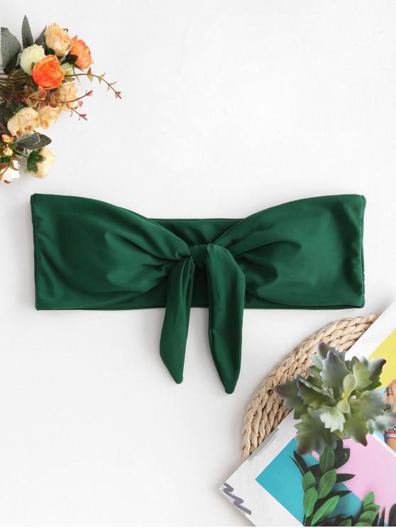 trendy ZAFUL Tied Padded Bandeau Bikini Top - MEDIUM SEA GREEN S
