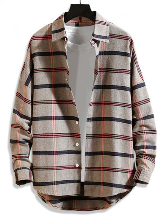 lady High Low Plaid Print Curved Hem Button Long Shirt - KHAKI M