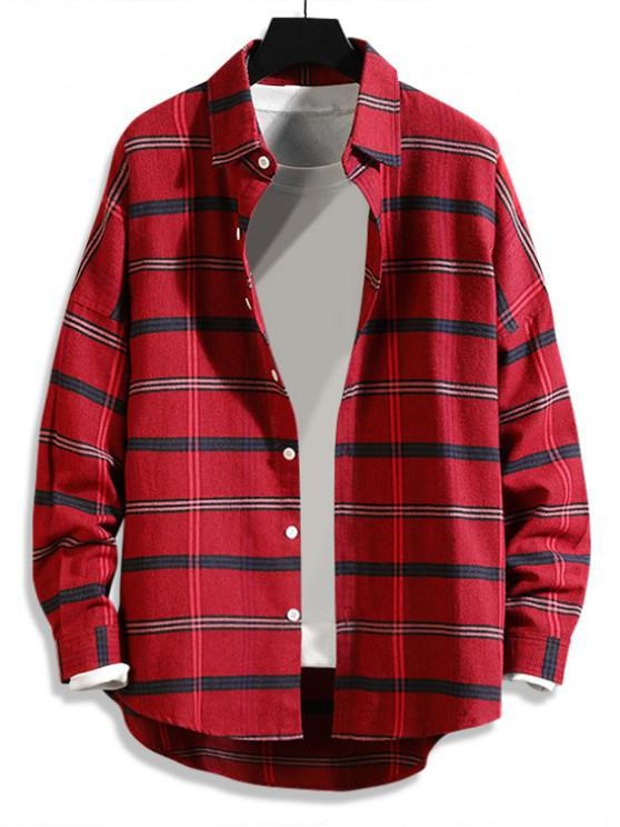 online High Low Plaid Print Curved Hem Button Long Shirt - RED 3XL