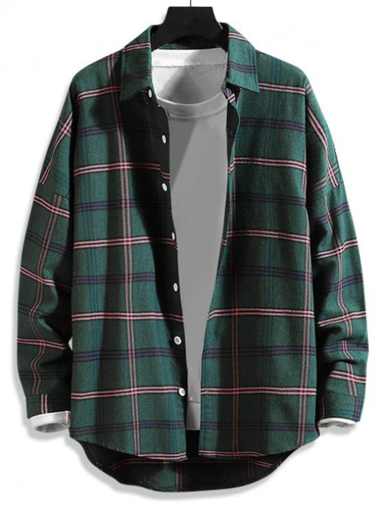 buy High Low Plaid Print Curved Hem Button Long Shirt - GREEN M