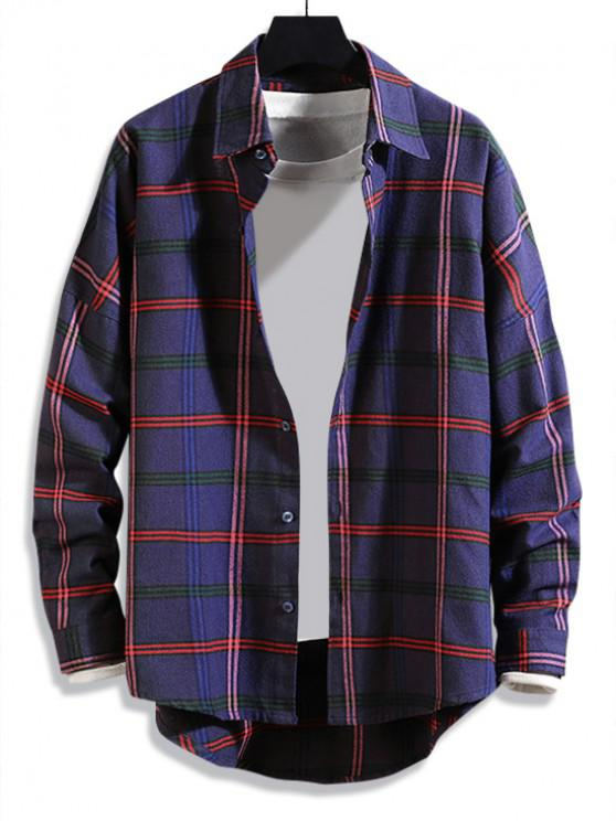 lady High Low Plaid Print Curved Hem Button Long Shirt - PURPLE L