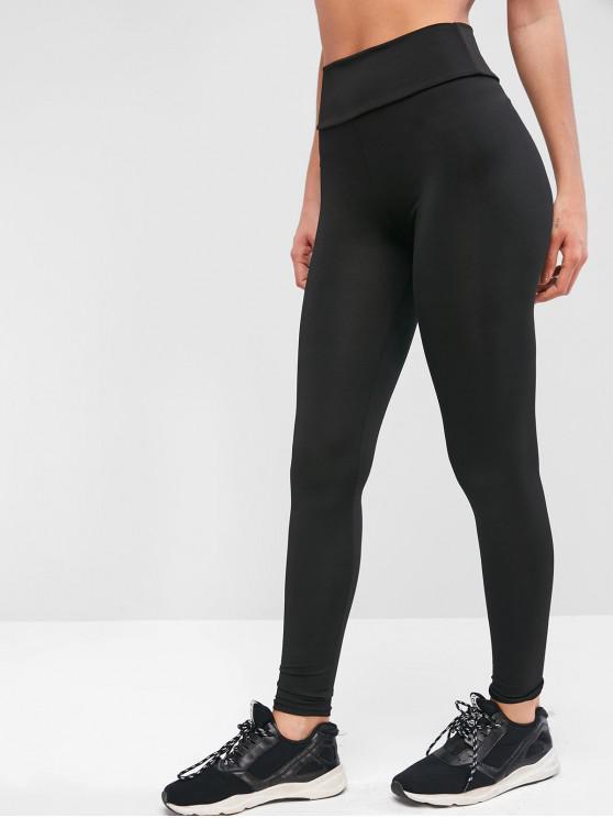 trendy Plain High Waisted Sports Leggings - BLACK S