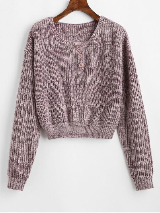 Suéter medio abotonado con botones ZAFUL - Púrpura de Wisteria Talla única