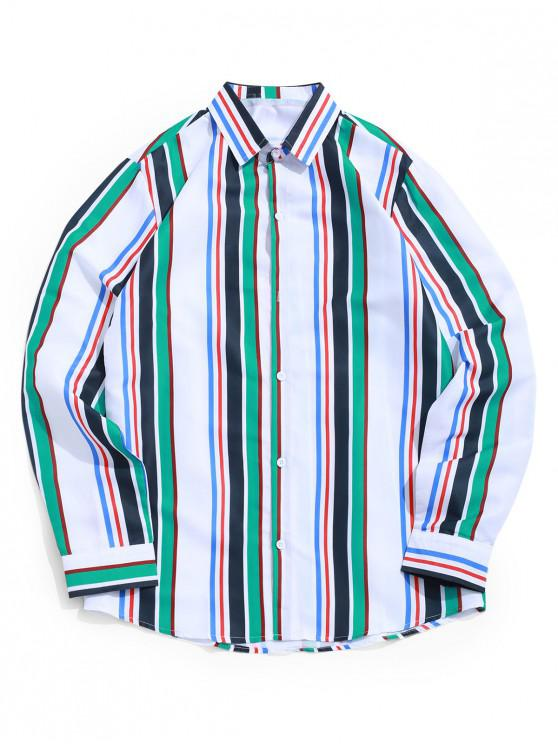 buy Colored Stripes Print Long Sleeve Button Up Shirt - WHITE L