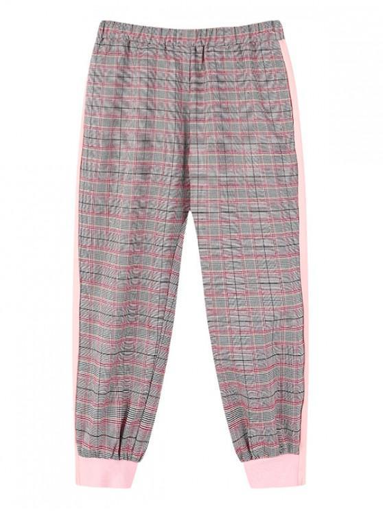 shop Girls Plaid Print Elastic Waist Jogger Pants - PIG PINK 130