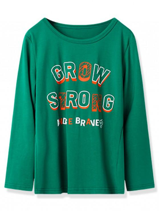 lady Kids Grow Strong Graphic Long Sleeve T Shirt - JUNGLE GREEN 130