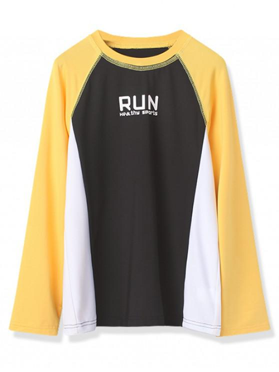 unique Boys Run Graphic Color Block Long Sleeve Tee - MUSTARD 150