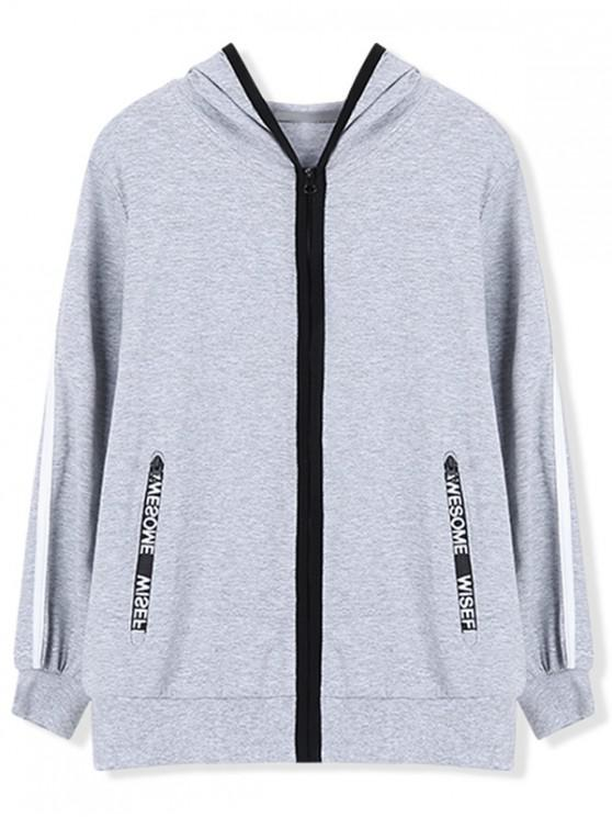 hot Casual Hoodie with Zip Pocket - GRAY 150