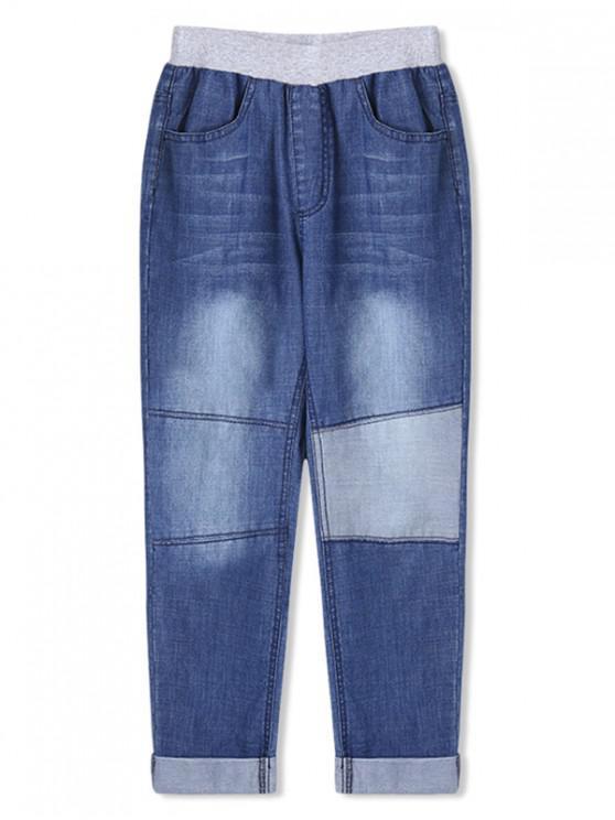 womens Boys Patch Rolled Hem Pencil Jeans - BLUE 110