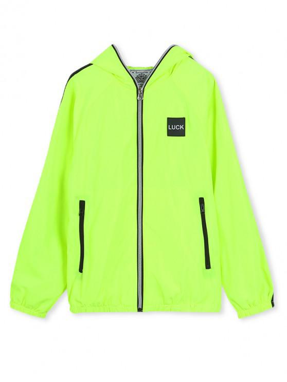 affordable Luck Applique Contrast Tape Hooded Zip Up Jacket - EMERALD GREEN 150